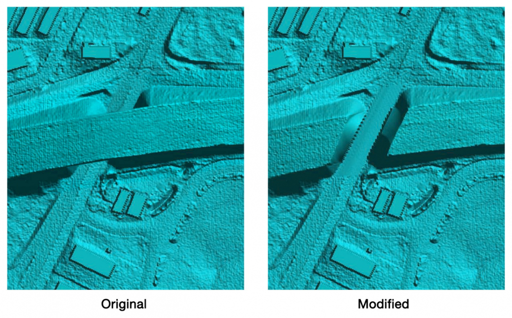 Stamp Geometry command before and after applying a terrain cut